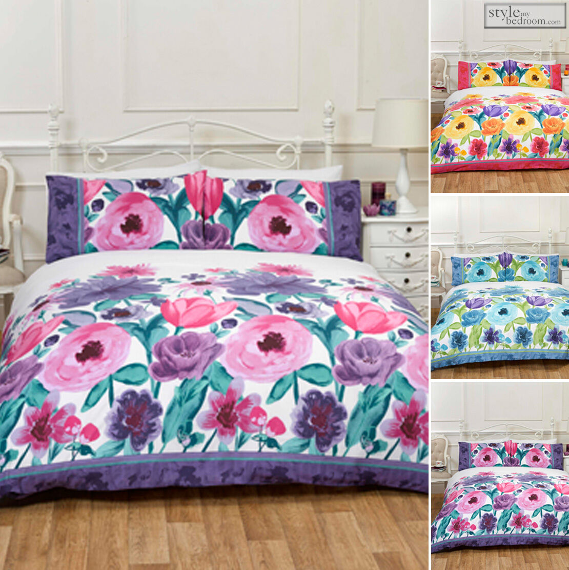 Watercolour floral isabella duvet quilt cover bedding set for Style my bedroom