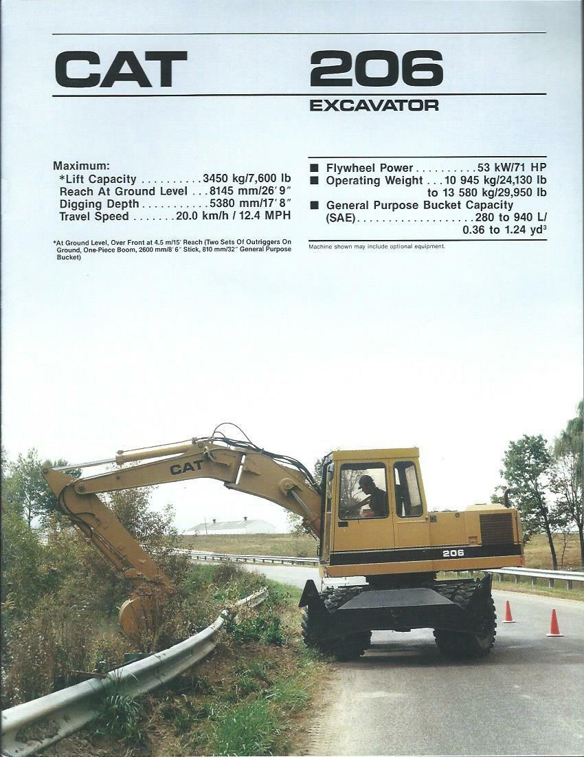 equipment brochure caterpillar 206 wheel excavator c1989 e2383 picclick. Black Bedroom Furniture Sets. Home Design Ideas