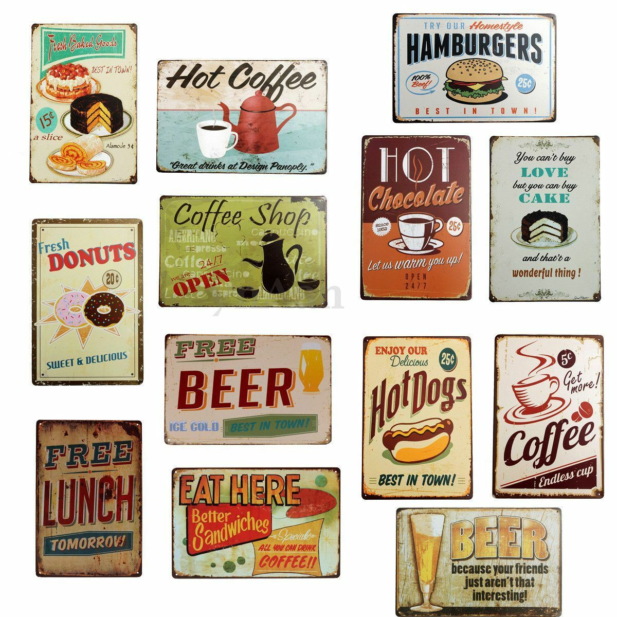 retro plaque metal food maill e affiche mural. Black Bedroom Furniture Sets. Home Design Ideas