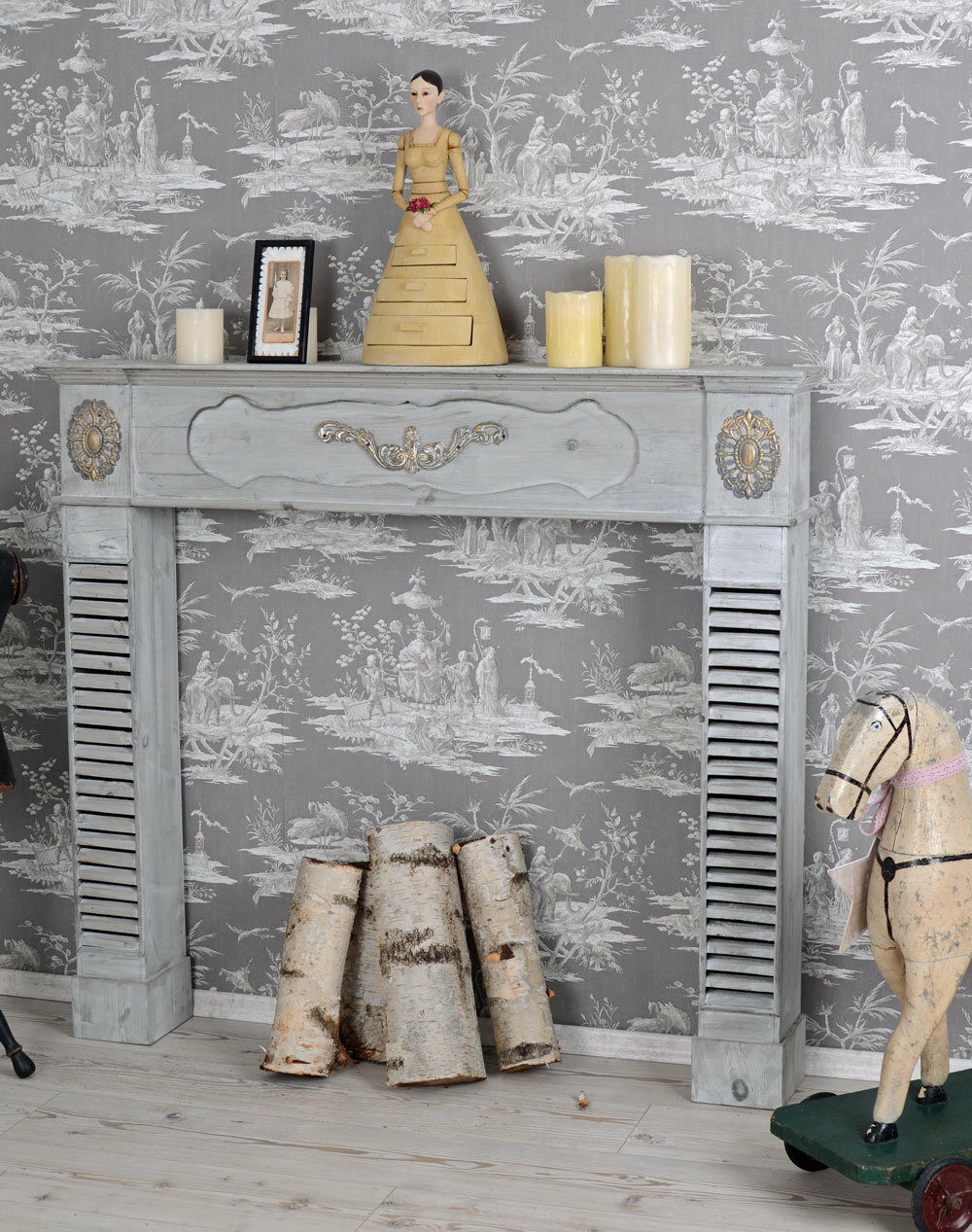 kaminkonsole shabby chic kamin holzkamin kaminumrandung deko kamin eur 159 99 picclick de. Black Bedroom Furniture Sets. Home Design Ideas