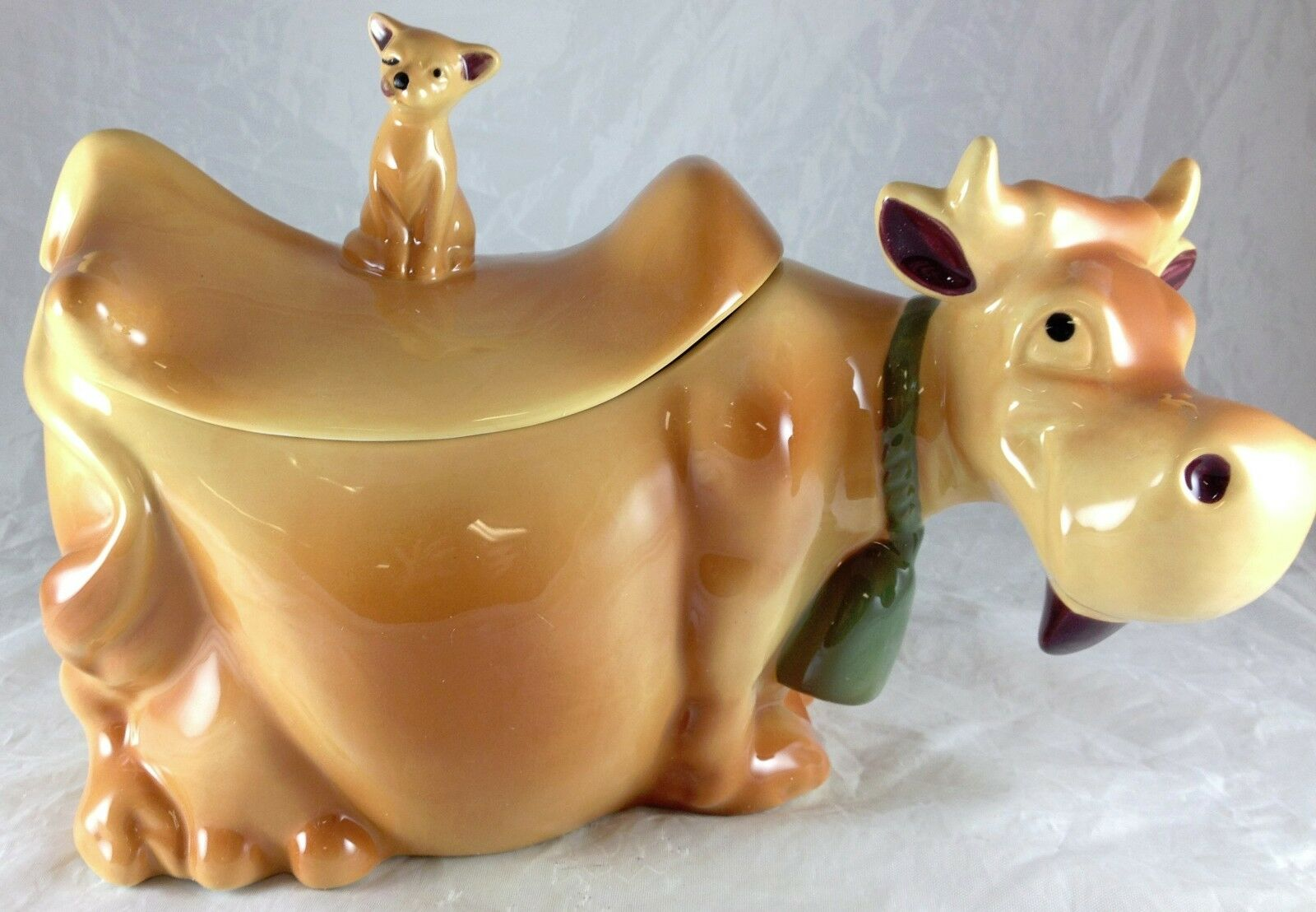 Cow With Cat On Back Cookie Jar