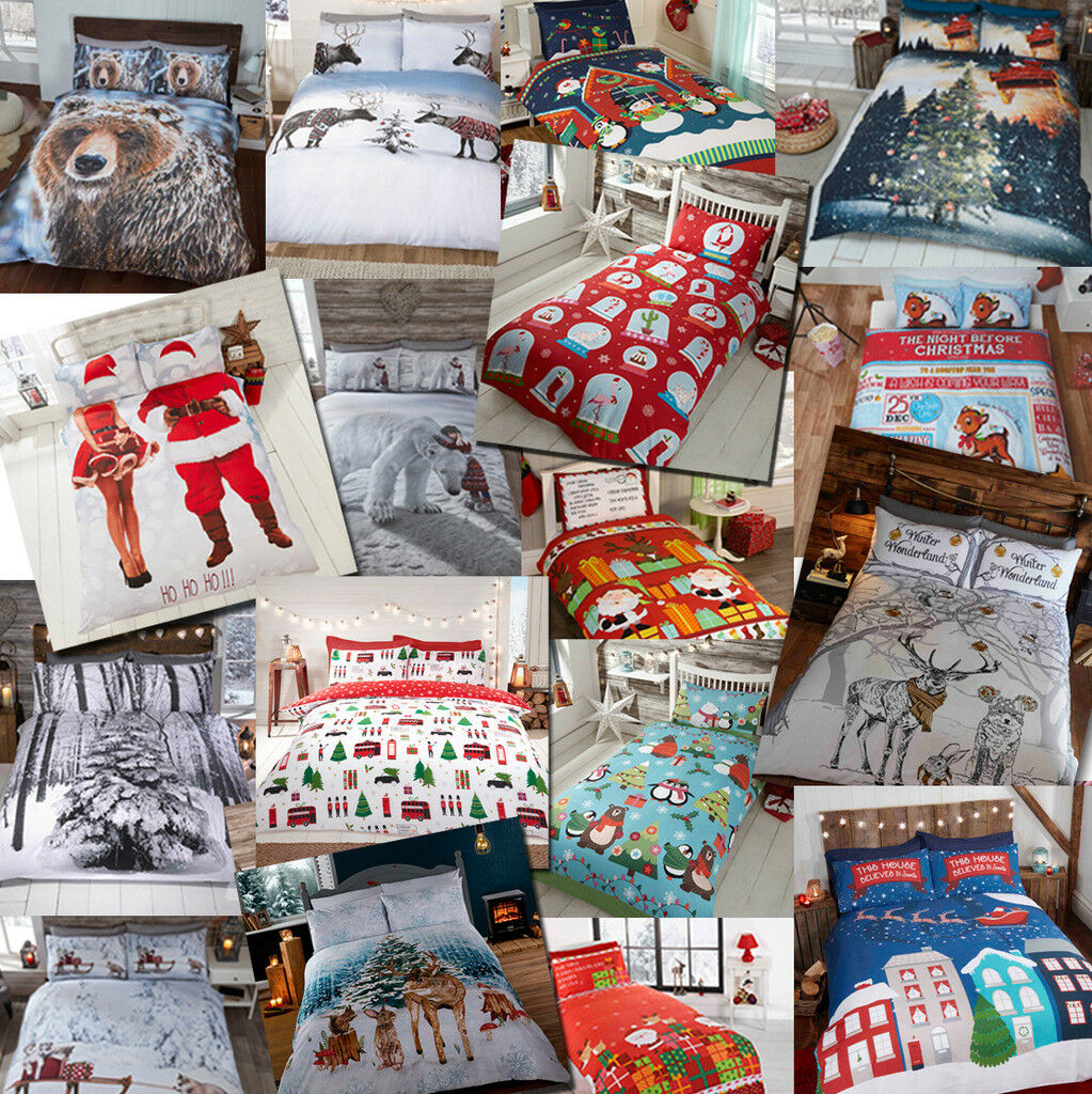 Winter christmas print duvet quilt cover bedding set for Style my bedroom