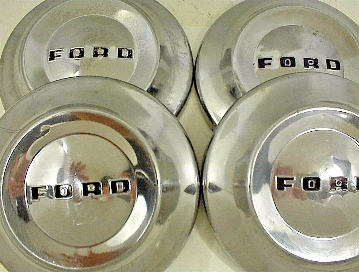 1952 1953 1954 Ford Hubcaps Dog Dish Vintage Poverty Caps 18000 1955 F100 Truck Moon 1 Of 12only Available