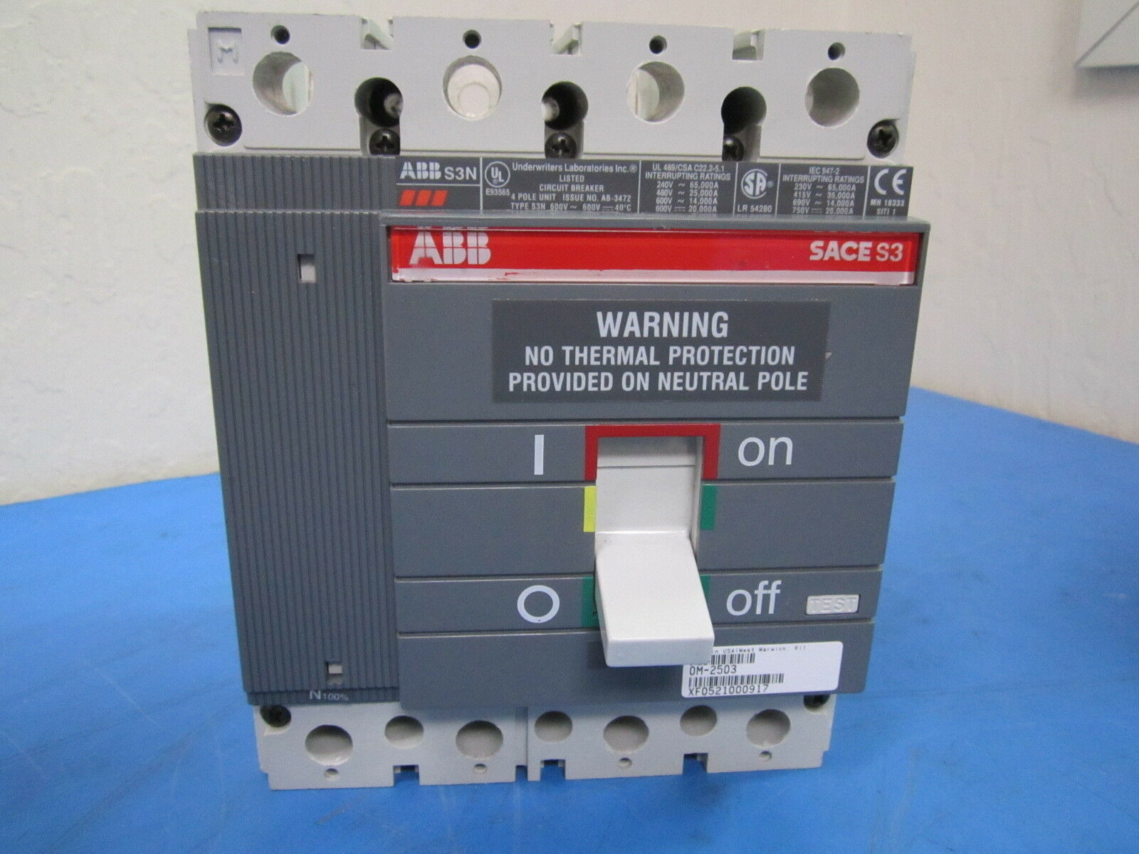 Used Abb Sace S3 150 Amp 400v Ac Circuit Breaker 11999 General Electric Ul489 D 3p 5a 240vac