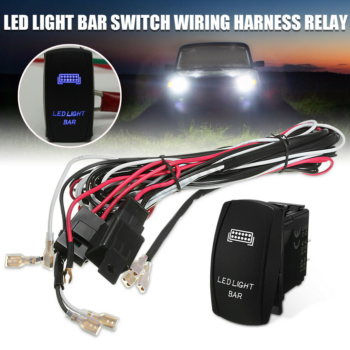 Suv Atv Wiring Harness Led Light Bar Rocker Switch On Off 40a Relay Fuse Kit 1 Of 10