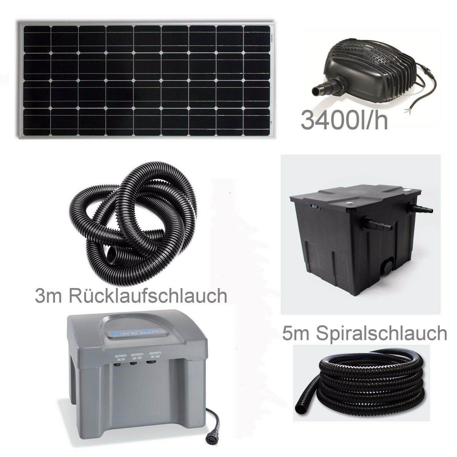 80 w solar teich pumpe akku bachlauf filter tauch gartenteich batterie garten eur 455 00. Black Bedroom Furniture Sets. Home Design Ideas