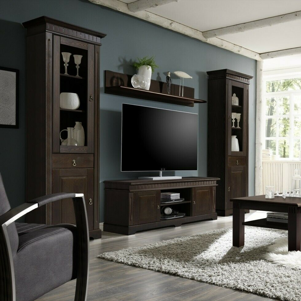 cordoba tv wohnwand wohnkombi schrankwand massivholz kiefer massiv kolonial stil eur. Black Bedroom Furniture Sets. Home Design Ideas