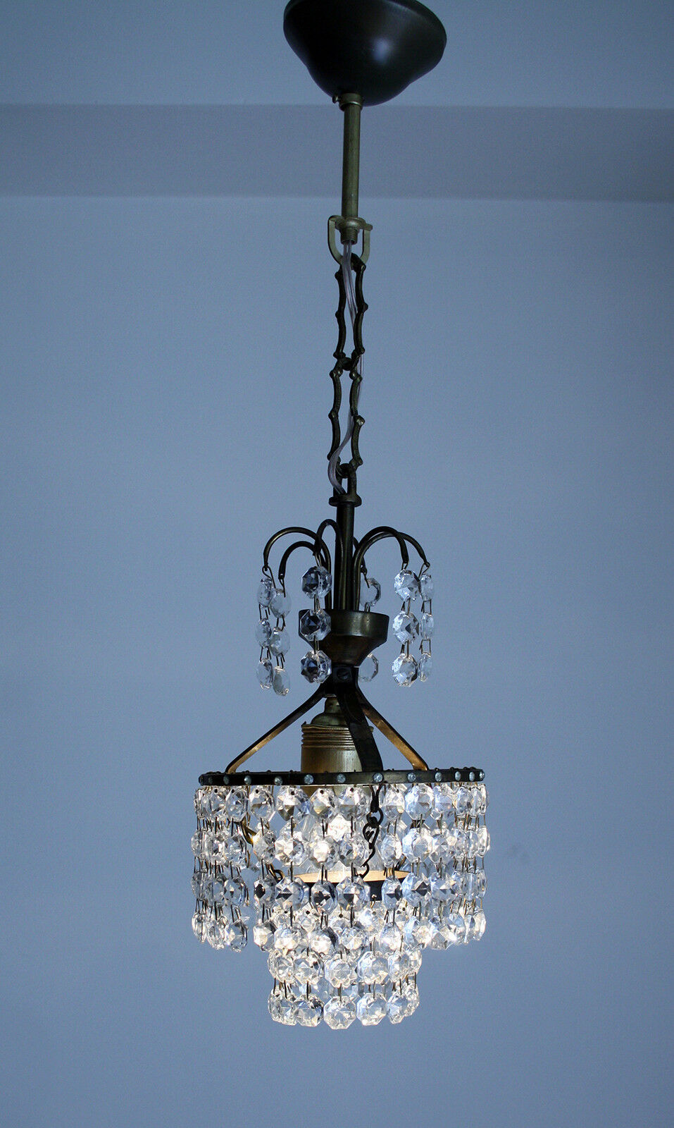 Antique French Basket Style Brass & Crystals Mini Chandelier from 1950's