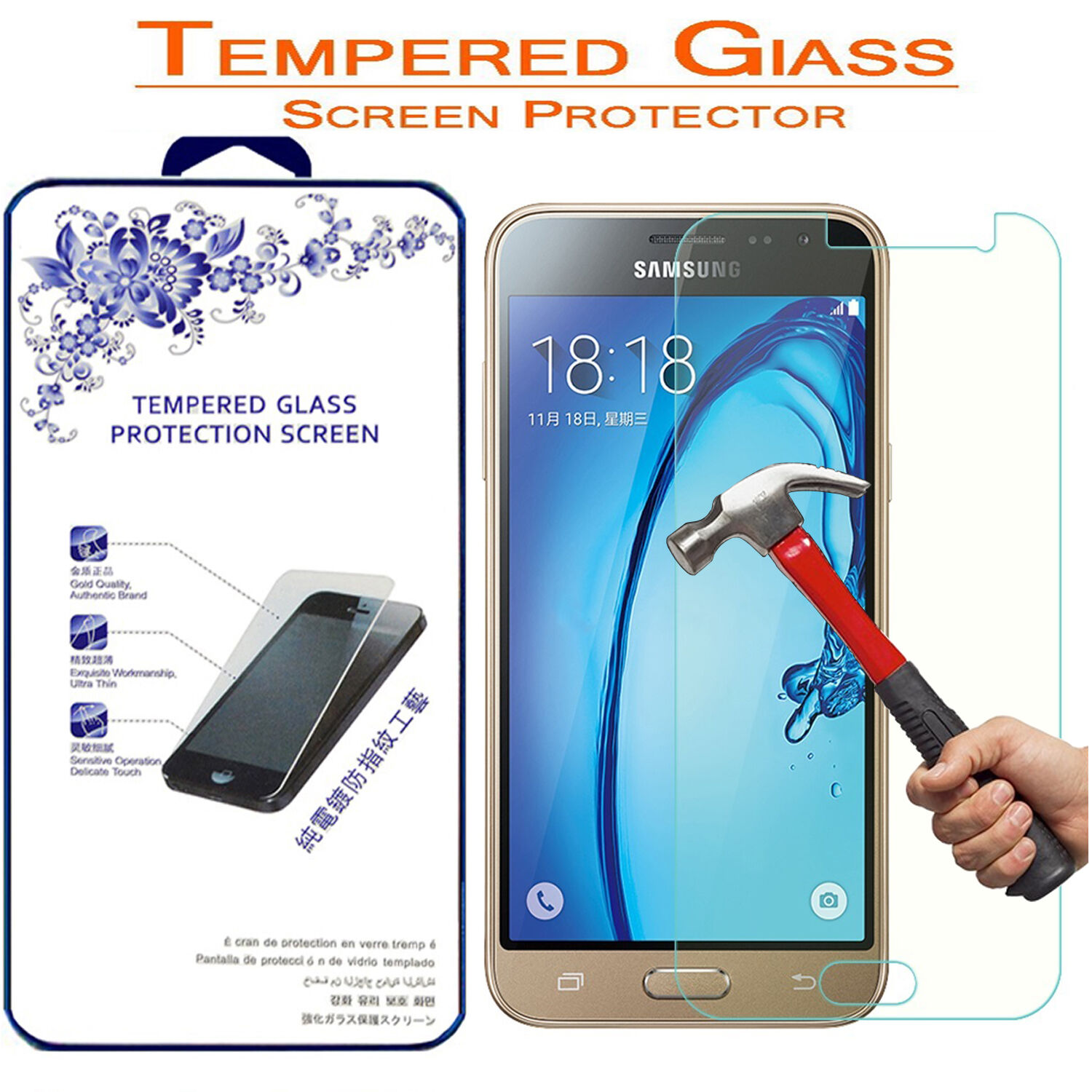 For Samsung Galaxy J3 2016 Version Sm J320 Hd Tempered Glass Screen Protector 1 Of 5free Shipping