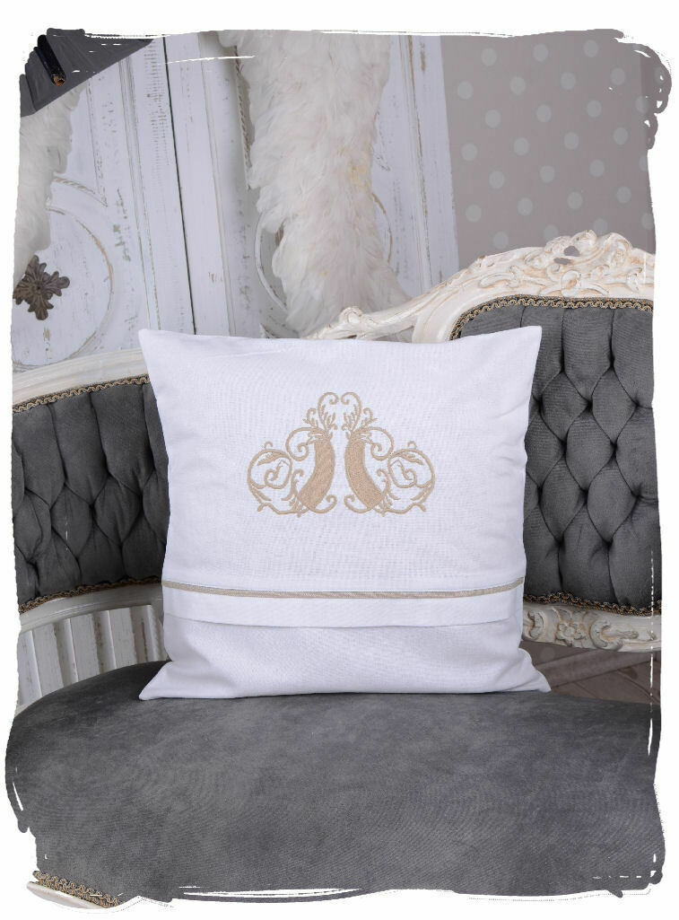 romantik kissen weiss monogramm dekokissen landhausstil. Black Bedroom Furniture Sets. Home Design Ideas