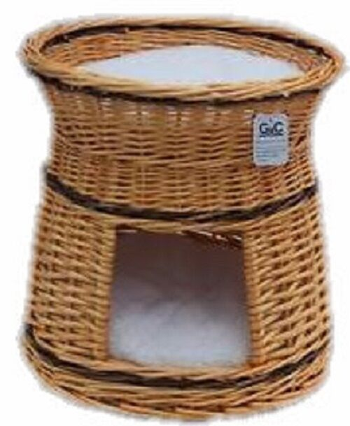 Cat Dog Basket Natural Round  2 Tier Rustic  With Cushion