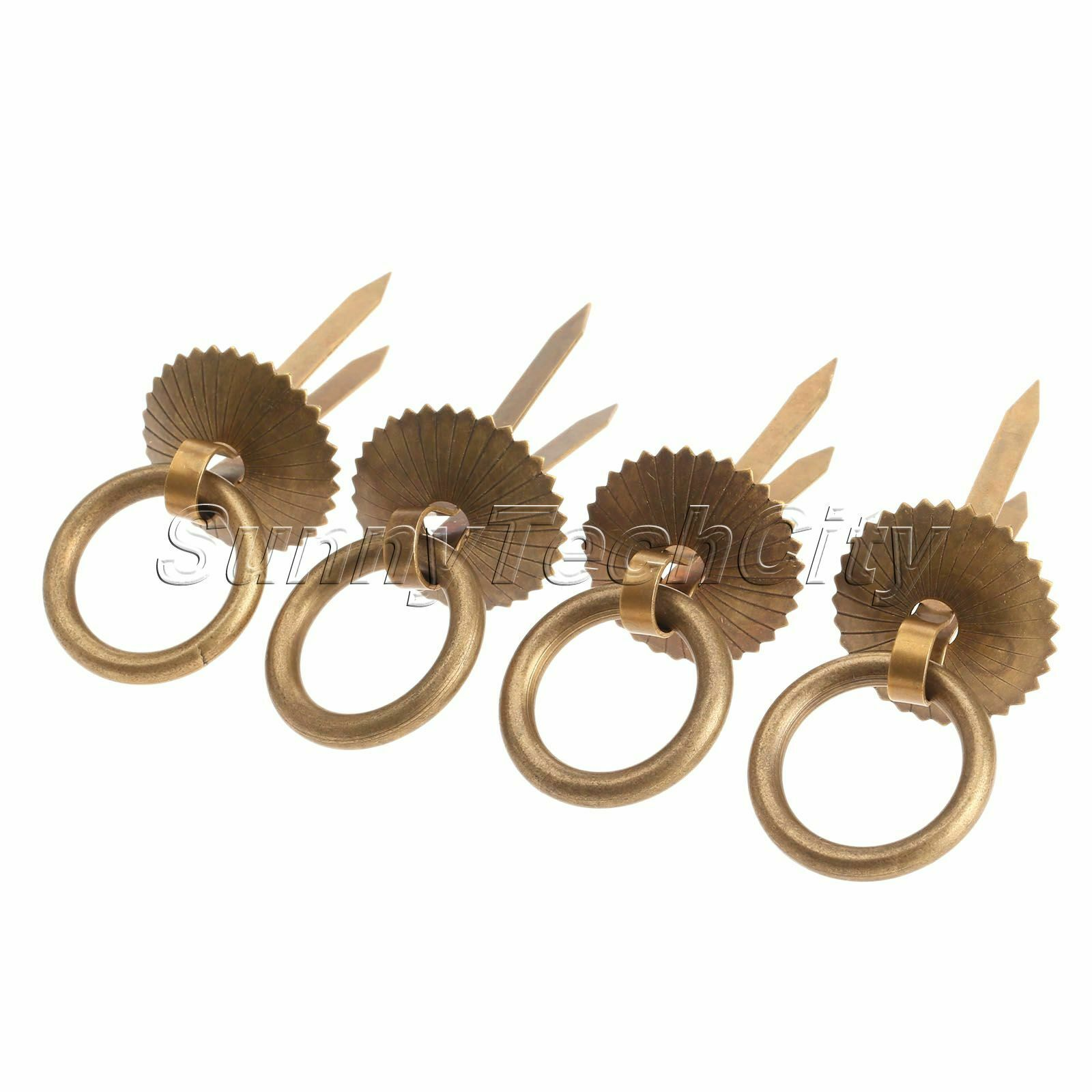Wholesale 4Pcs Brass Drawer Pull Handle Rings for Furniture Hardware Handles Dec