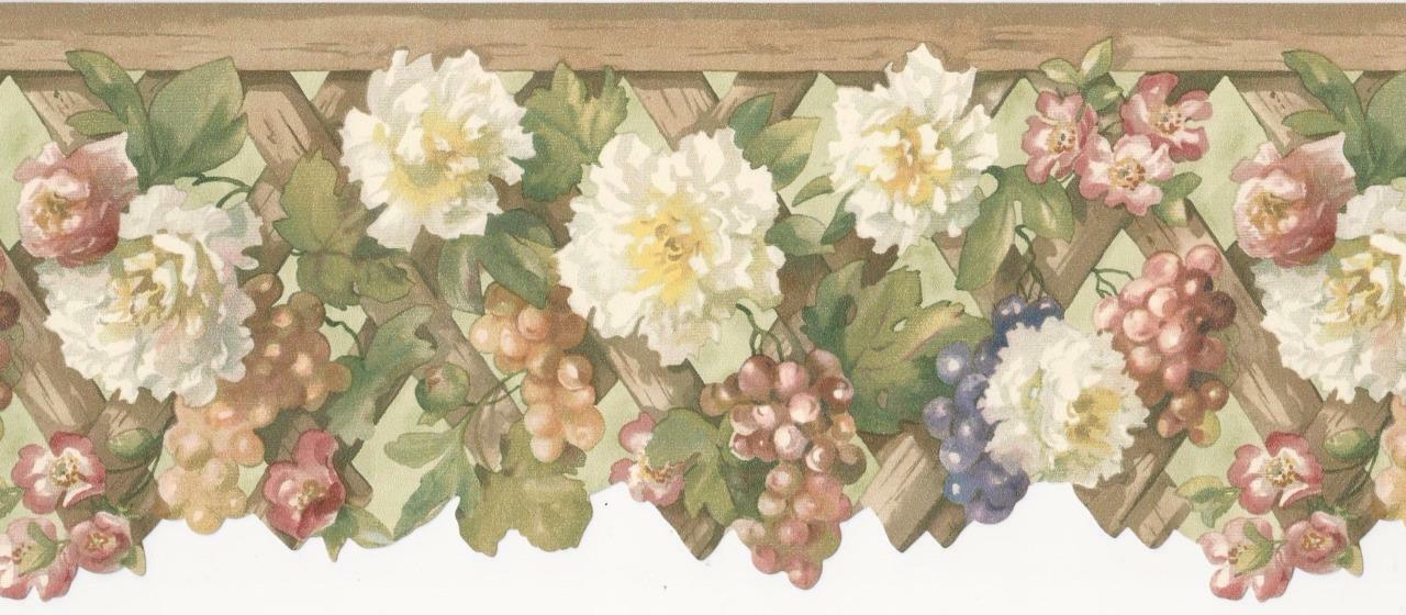 Wallpaper border white coral flowers floral with purple grapes on 1 of 1 see more mightylinksfo