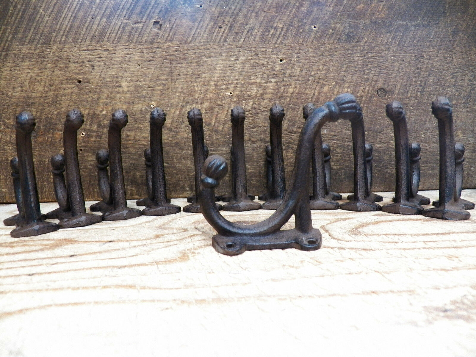 Lot 12 Antique-Style Double Rustic School COAT HOOK Cast Iron Hardware Restore