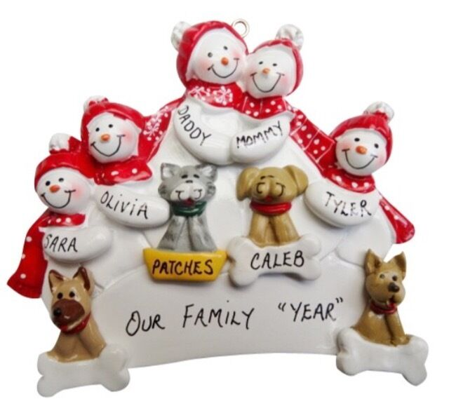 Family Of  With  Cats And One Dog Ornament