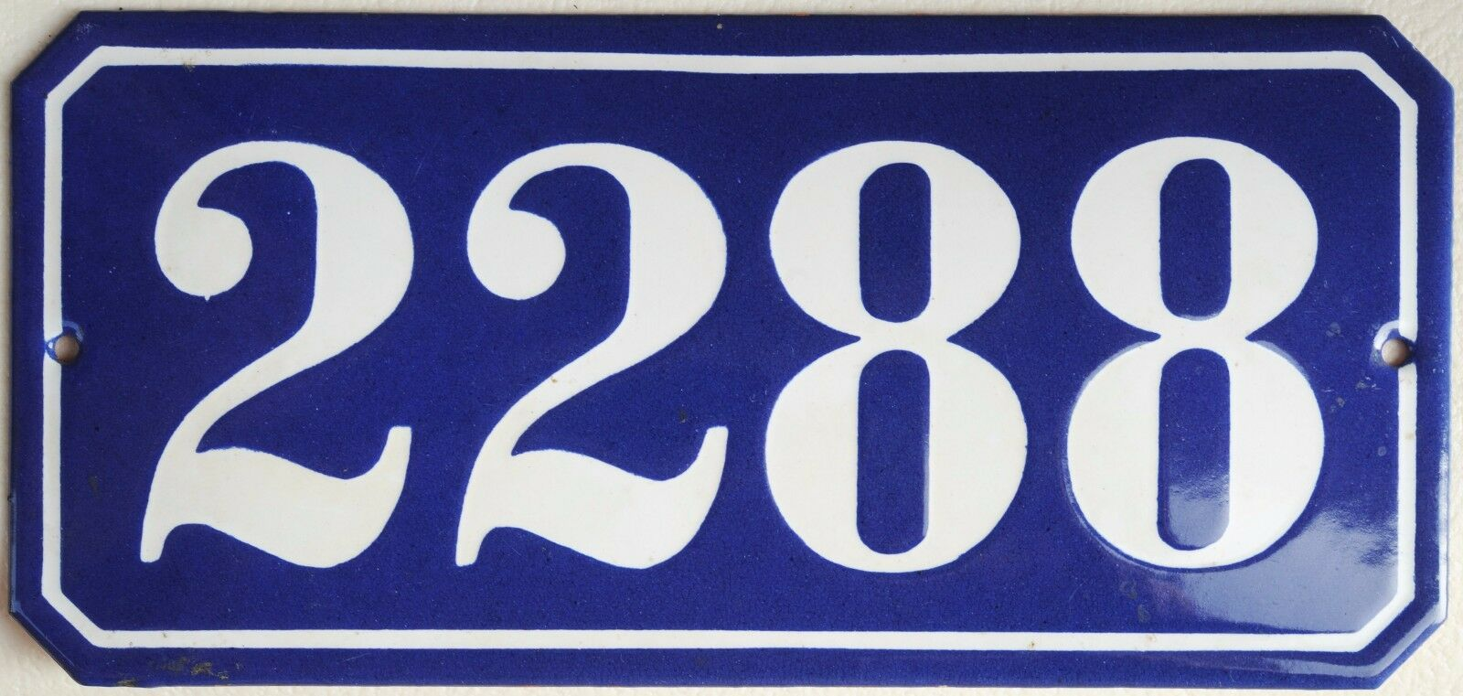 Old blue French house number 2288 door gate plate wall plaque enamel metal sign