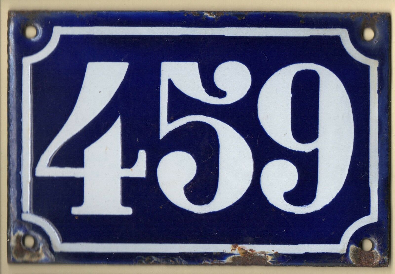 Old blue French house number 459 door gate plate plaque enamel metal sign c1900