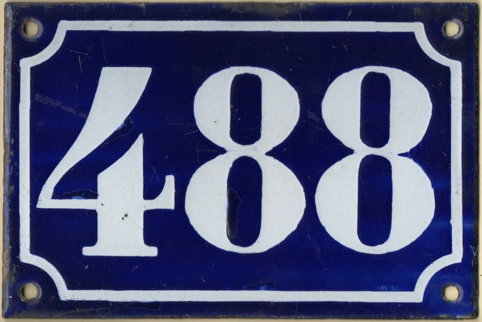 Old blue French house number 488 door gate plate plaque enamel metal sign c1900