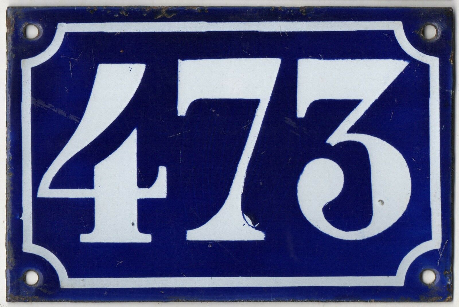 Old blue French house number 473 door gate plate plaque enamel metal sign c1900