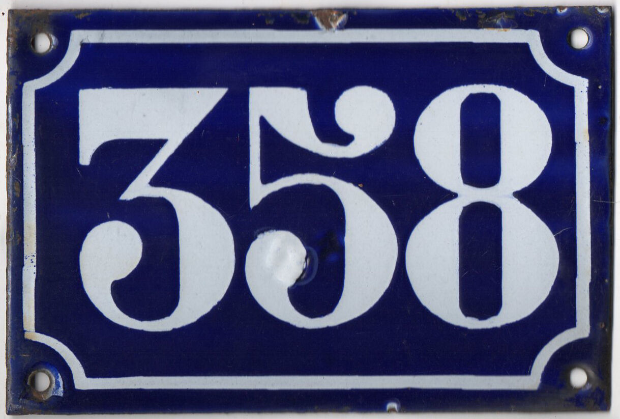 Old blue French house number 358 door gate plate plaque enamel metal sign c1900