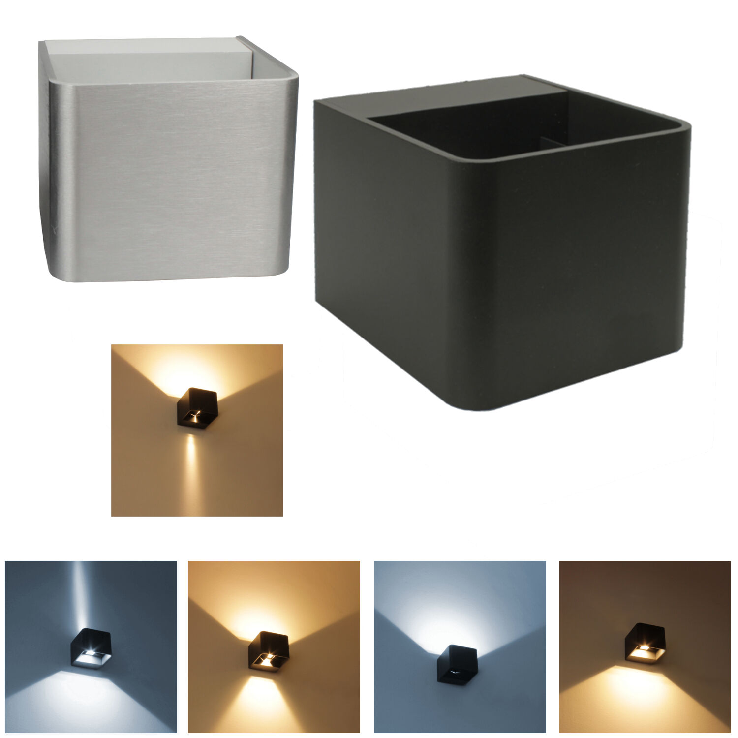 led 6 watt alu wand leuchte lampe terrasse. Black Bedroom Furniture Sets. Home Design Ideas