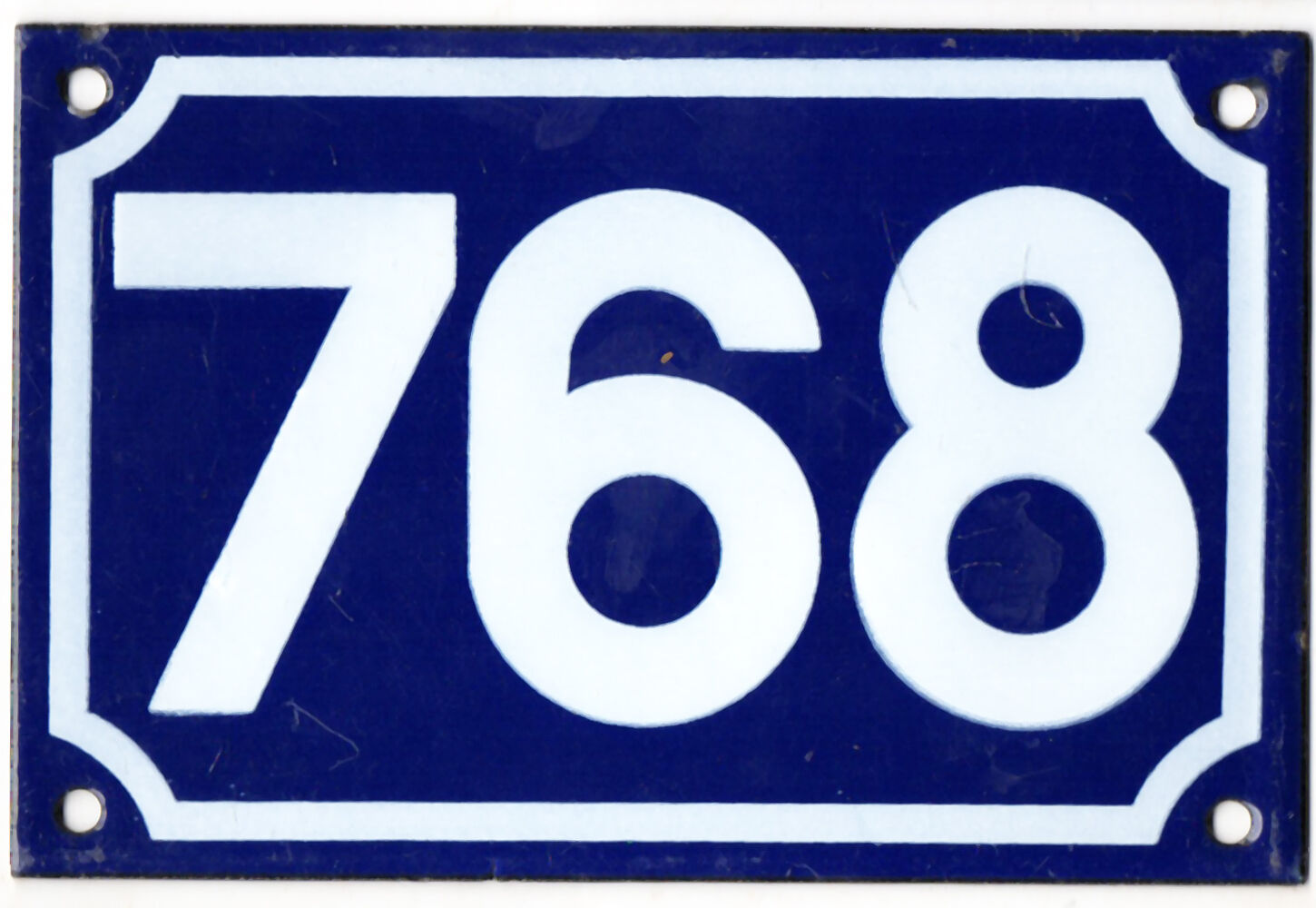 Old blue French house number 768 door gate plate plaque enamel steel metal sign