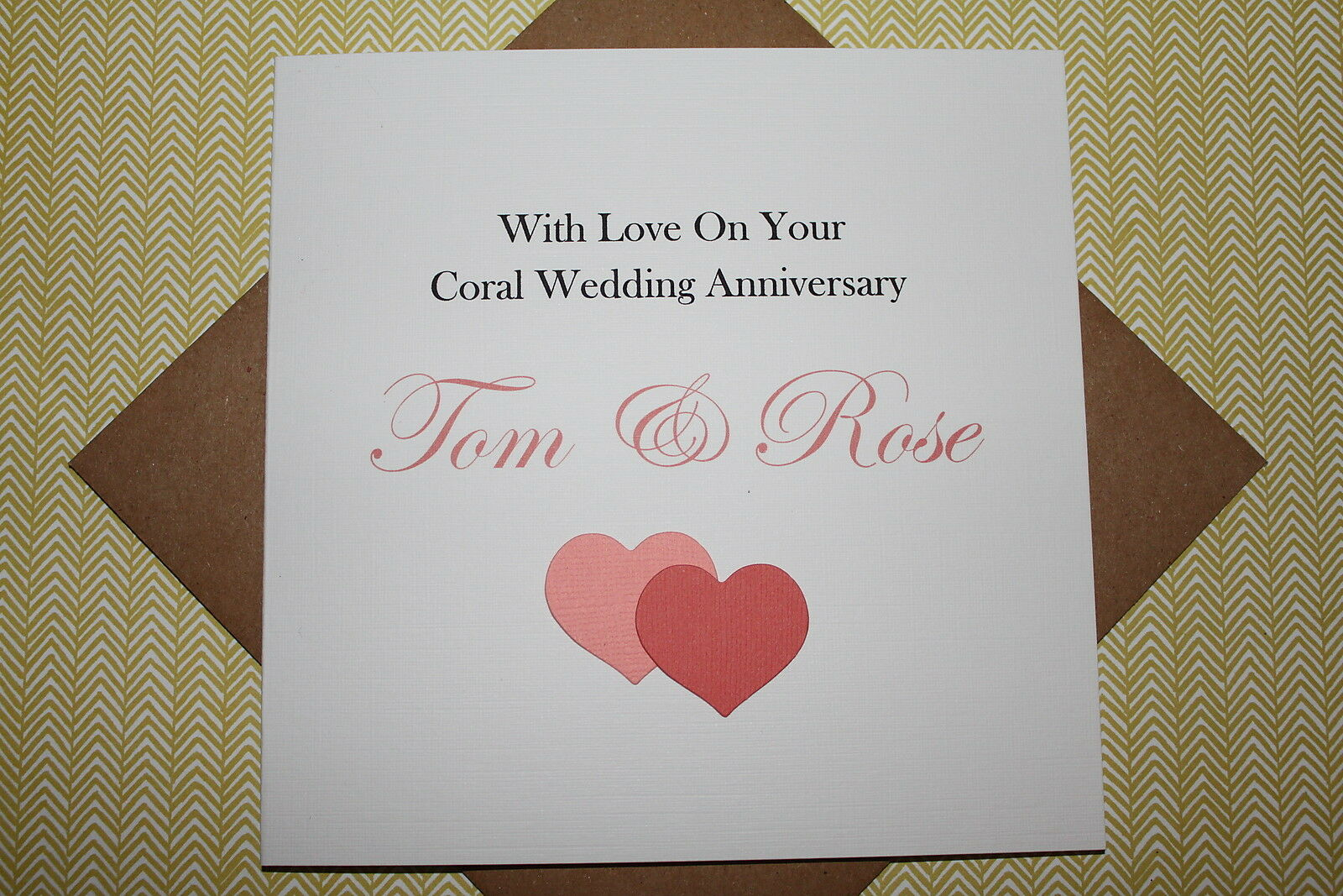 handmade personalised coral hearts 35th wedding anniversary card