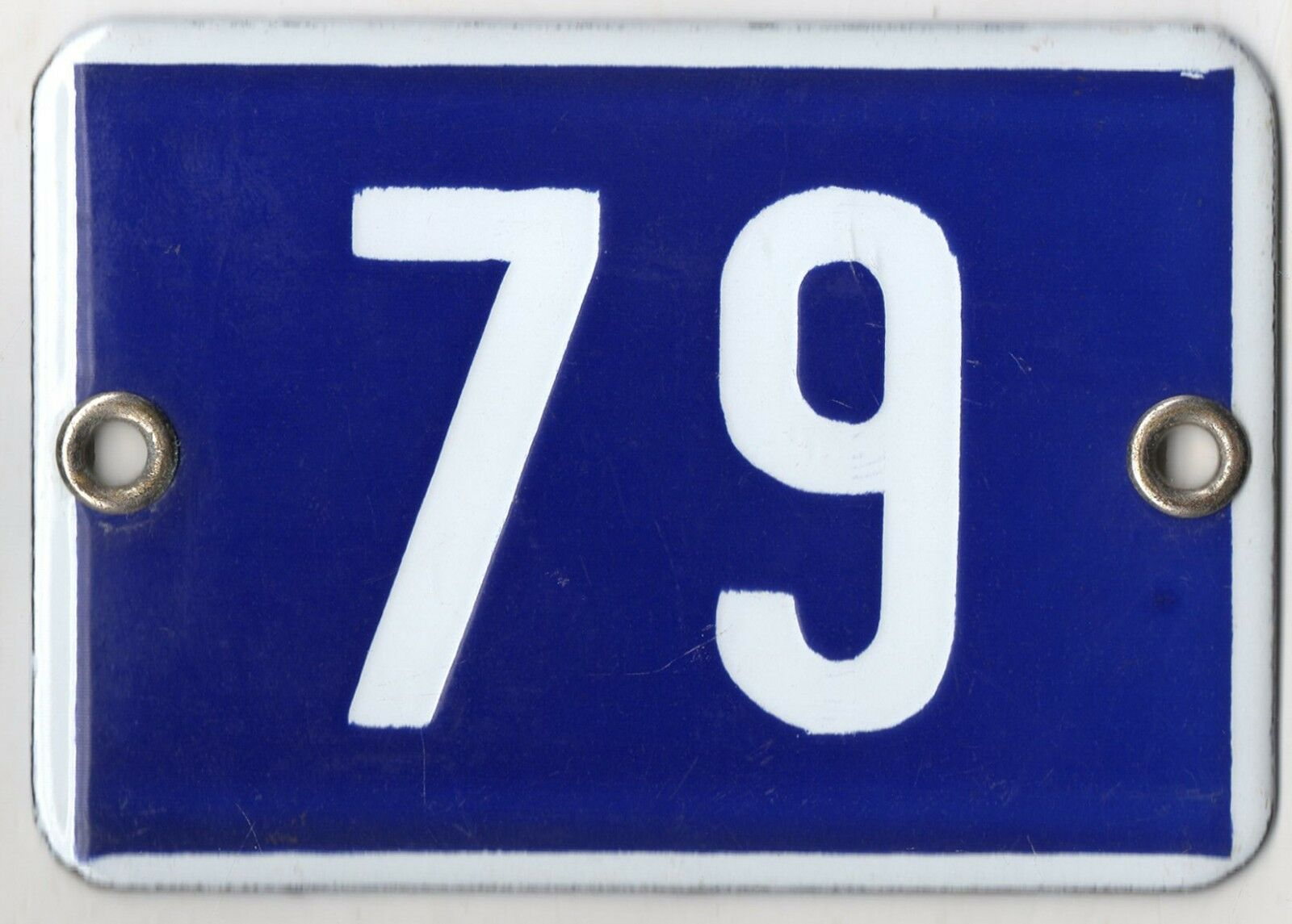 Cute old blue French house number 79 door gate plate plaque enamel metal sign