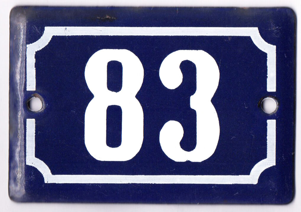 Cute old blue French house number 83 door gate plate plaque enamel metal sign