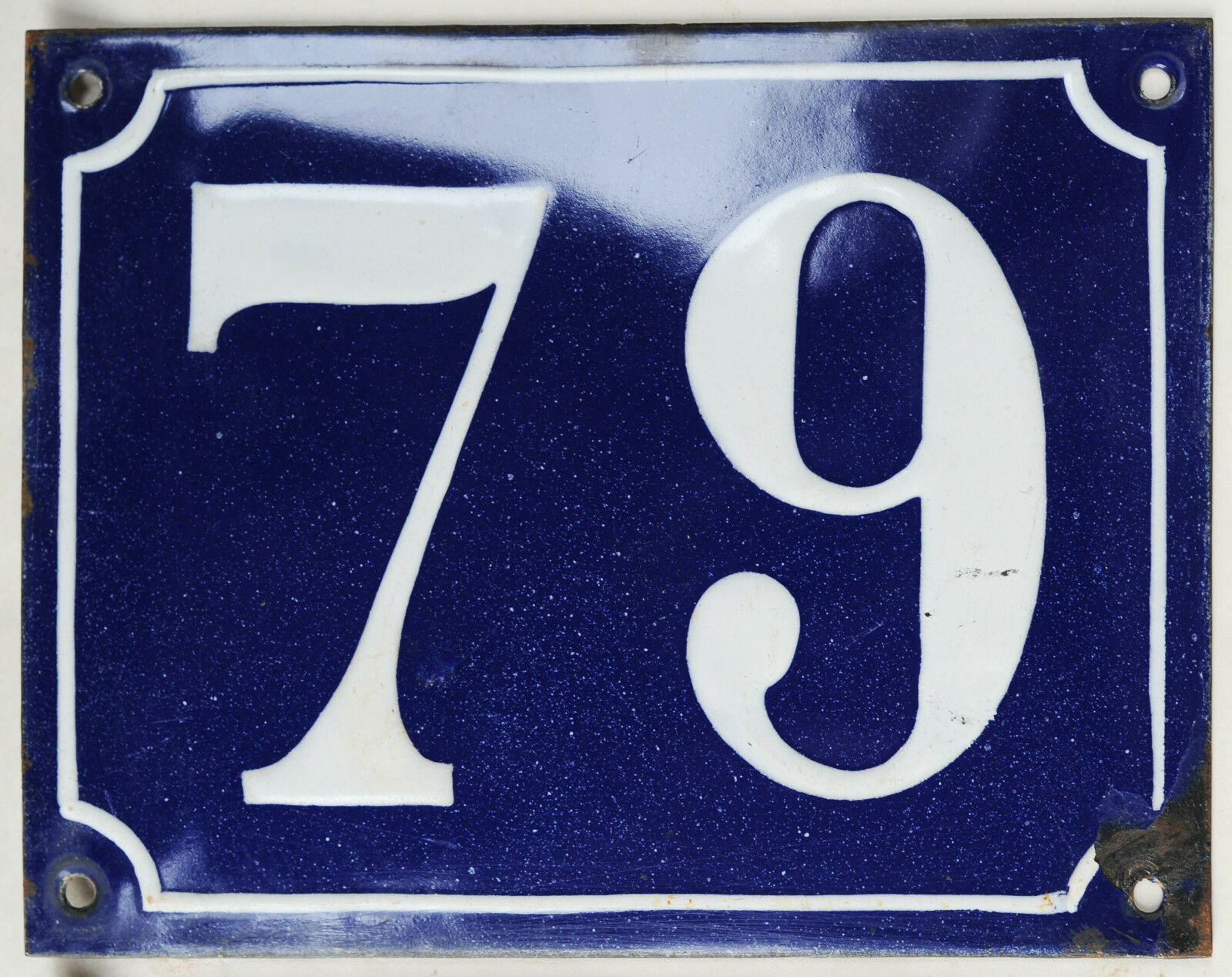 Old large blue French house number 79 door gate plaque enamel steel metal sign