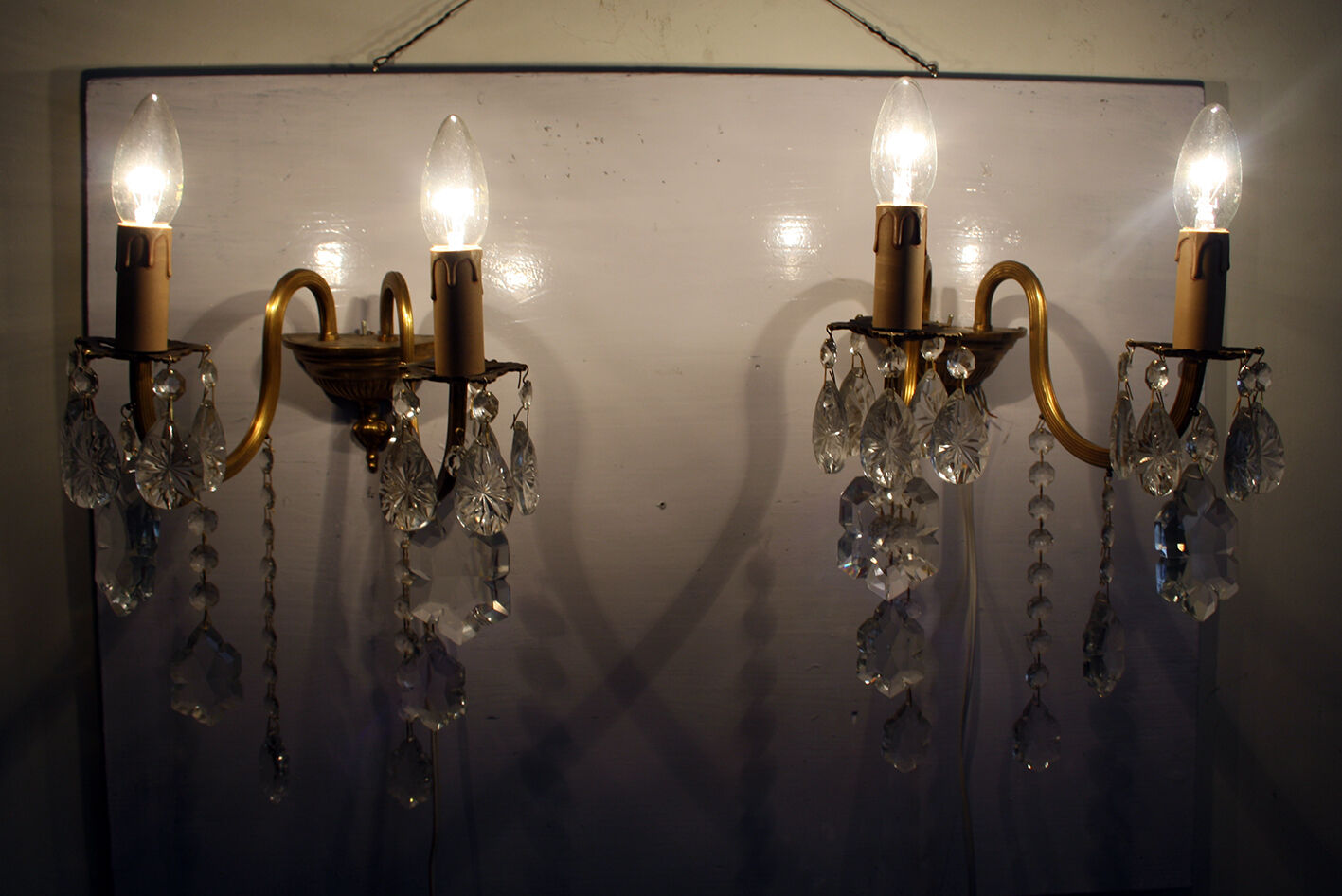 Pair of Antique / Vintage Armed Brass &  Crystals  Wall Sconces Chandelier