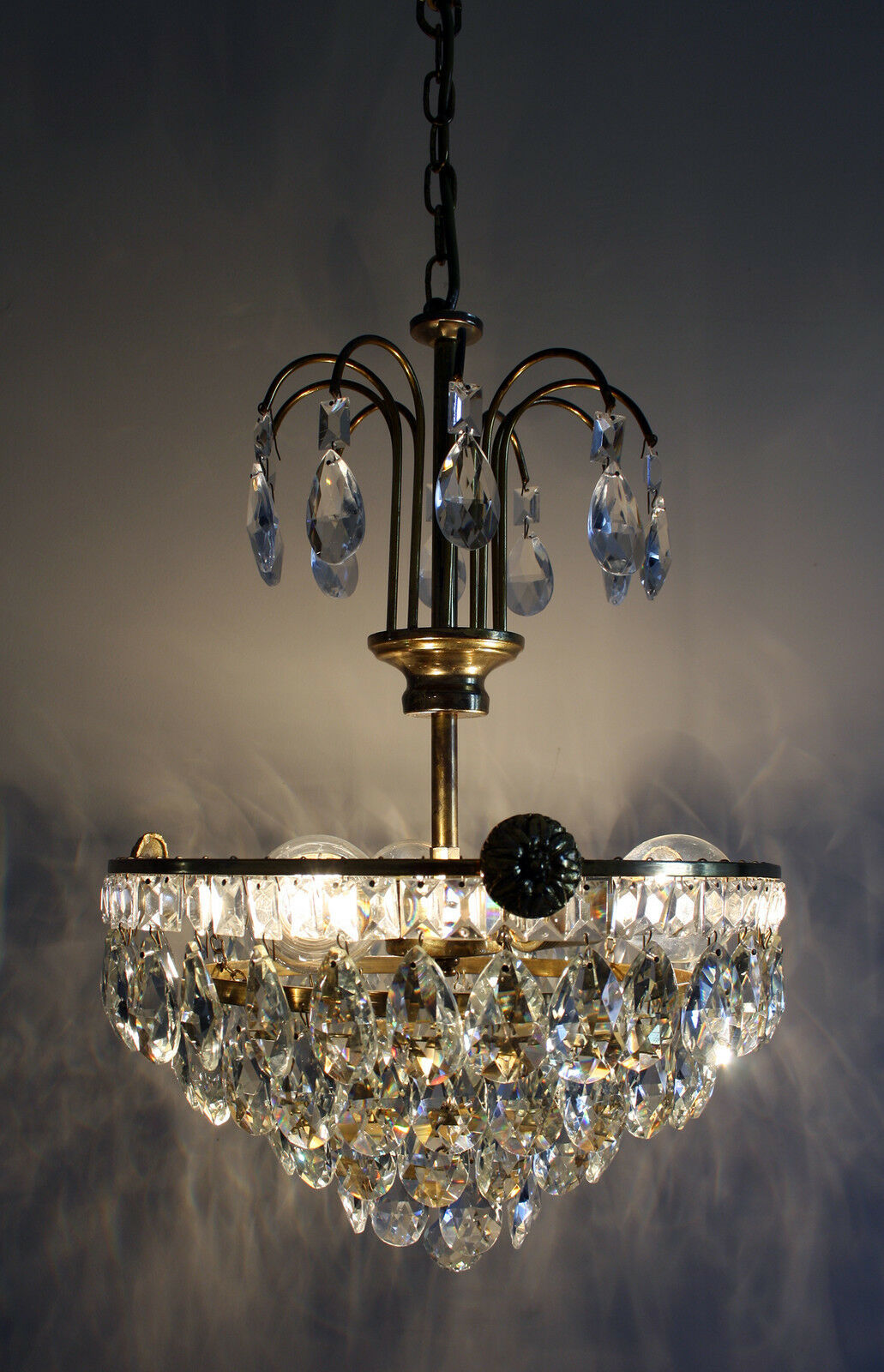 Antique Basket Style Brass & Crystals Chandelier from 1950's