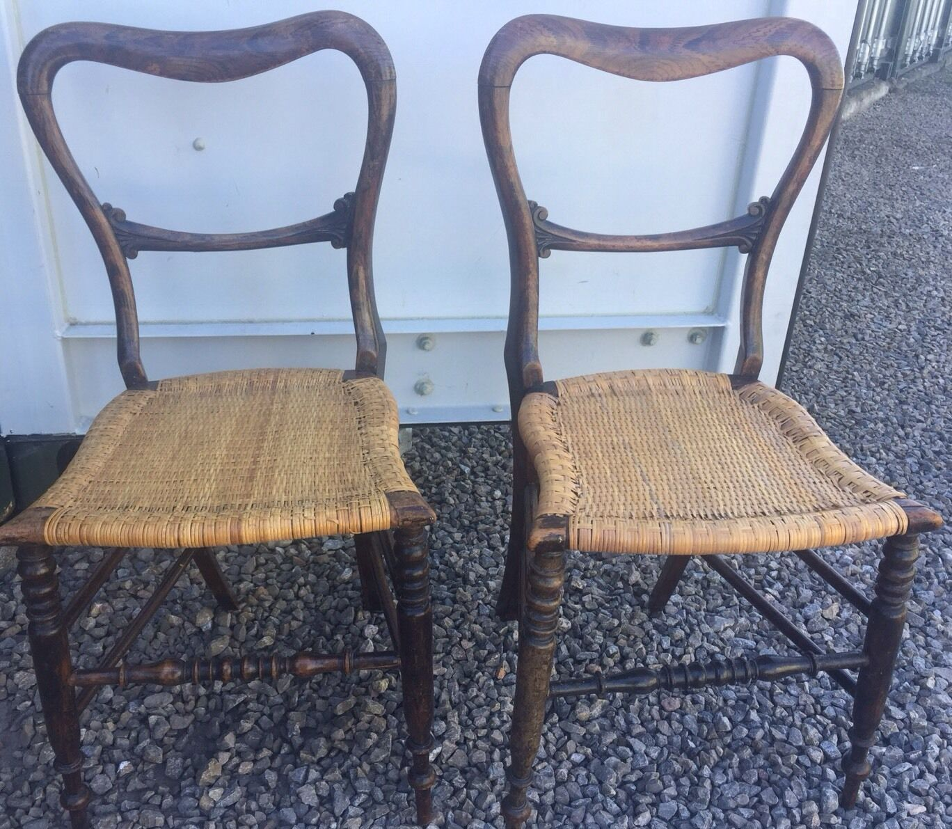 Vintage Pair Of Small Balloon Back Chairs With Rattan Seats Bedroom Chair