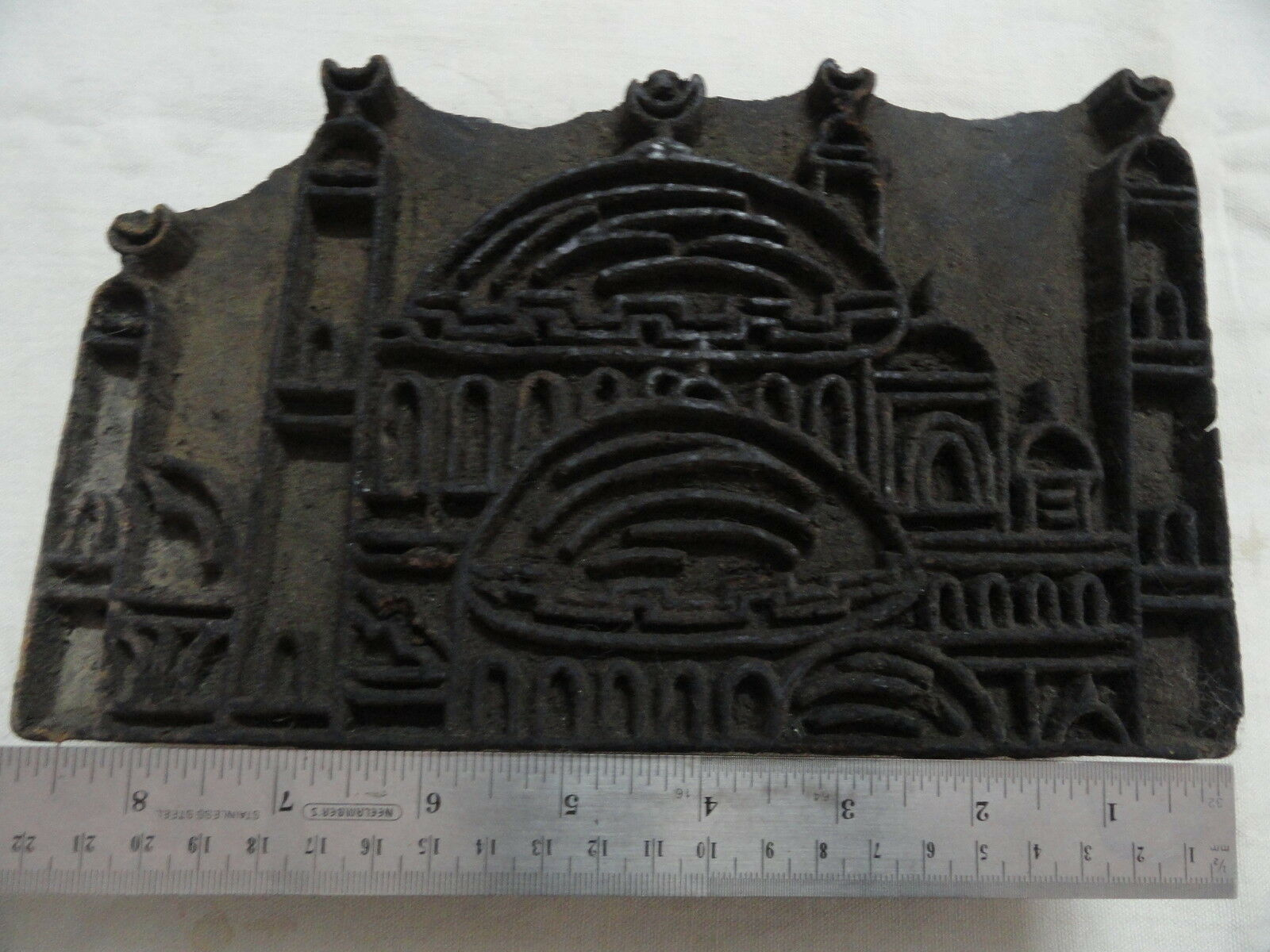 Islamic Antique Mecca Madina Hand Carved Wooden Textile Printing Stamp W752