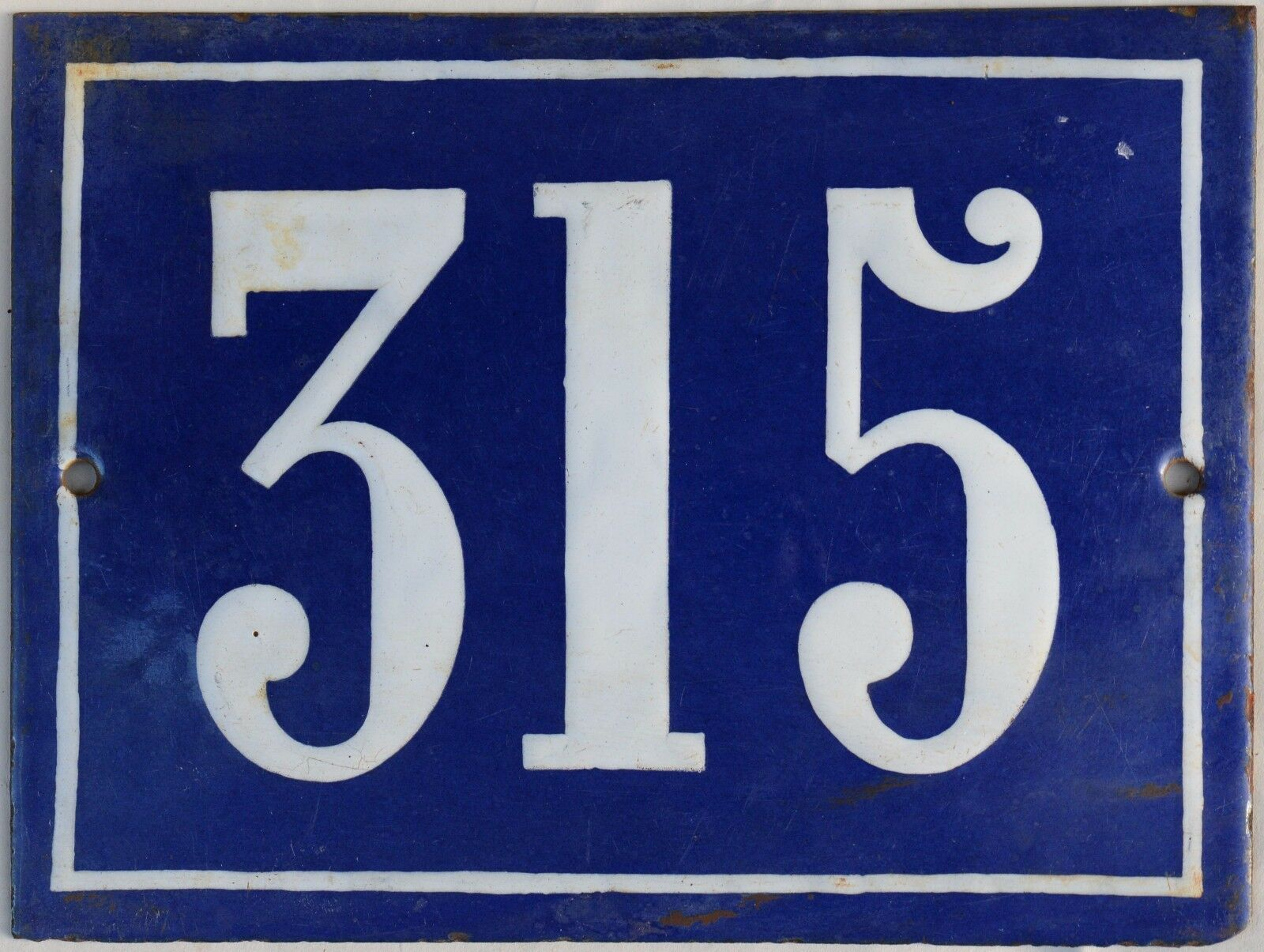 Large old blue French house number 315 door gate plate plaque enamel steel sign