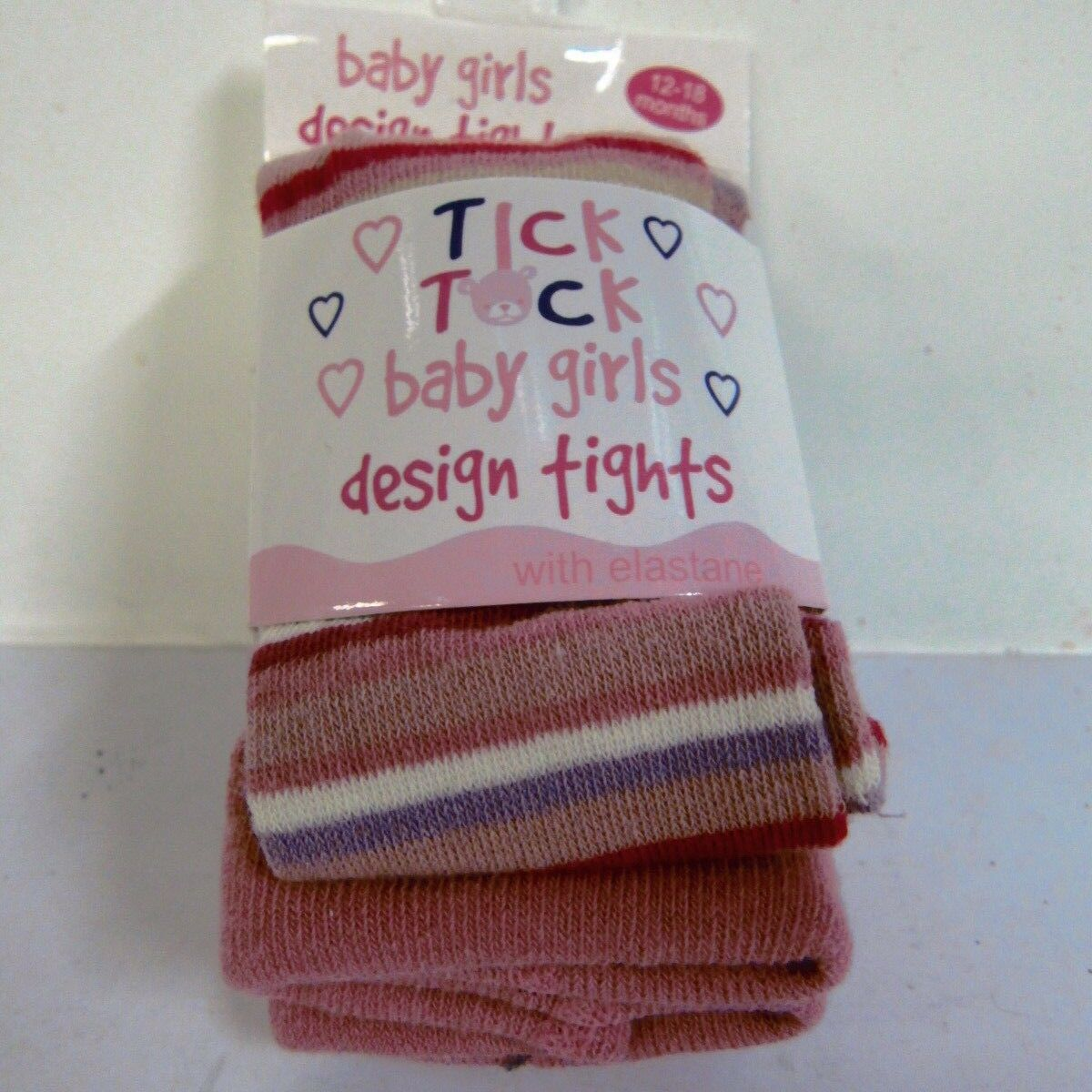 Baby Girls Tick Tock Cotton Rich Knit Tights pink stripy - 45B055