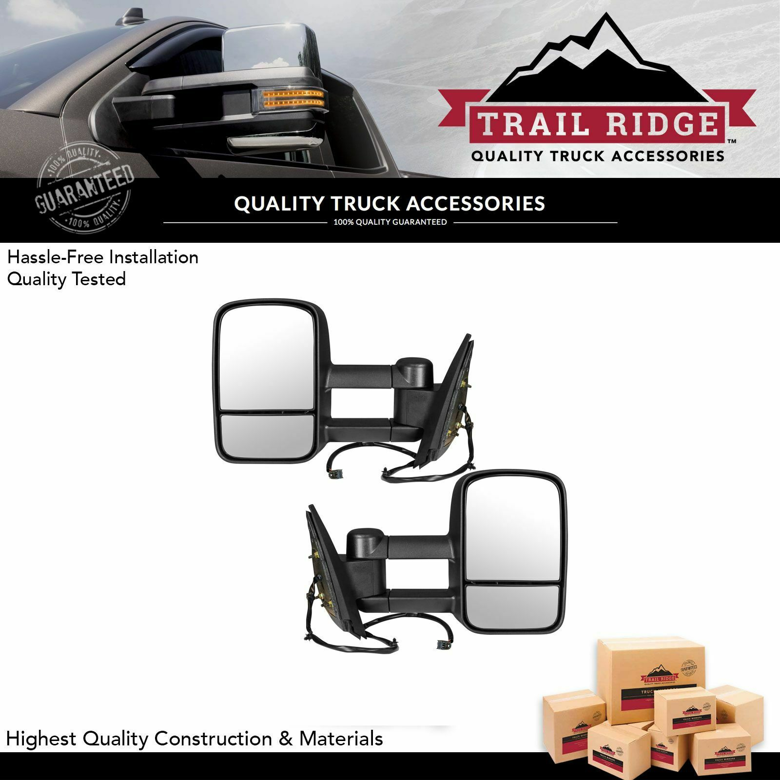 Trail Ridge Tow Mirror Power Heated Textured Black Pair Set For Truck Wiring Diagram Mirrors 1 Of 9free Shipping