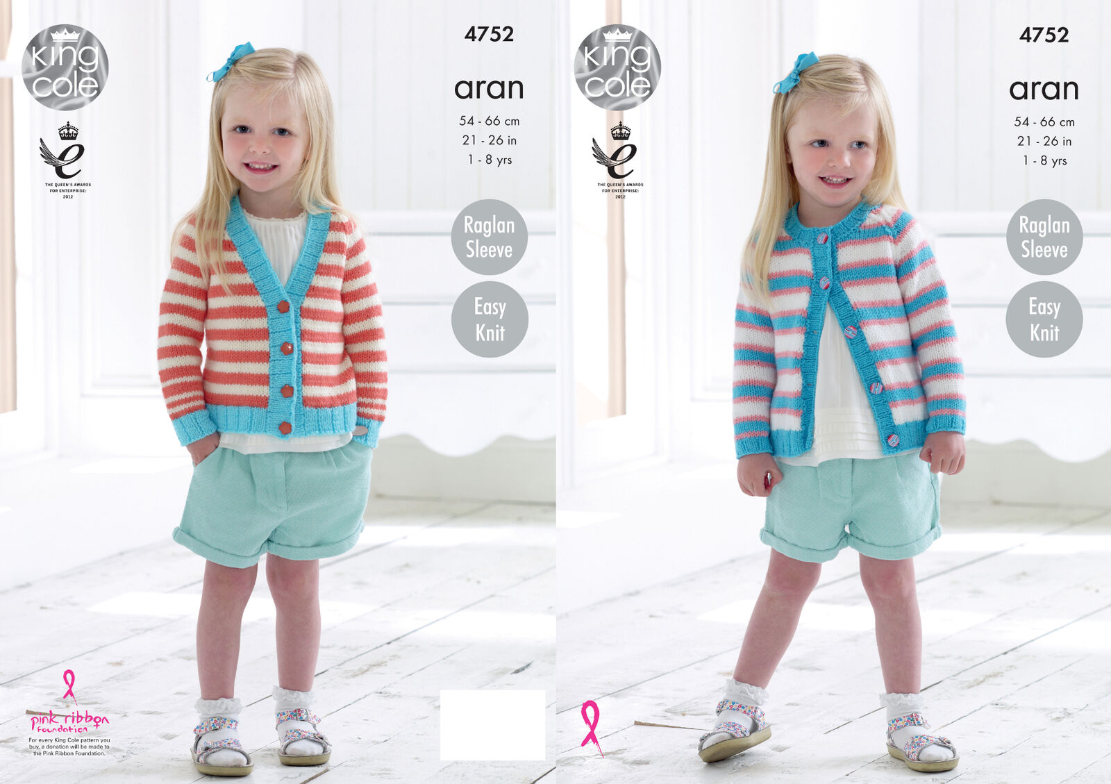 EASY KNIT GIRLS Long Sleeve Raglan Cardigan Knitting Pattern King ...