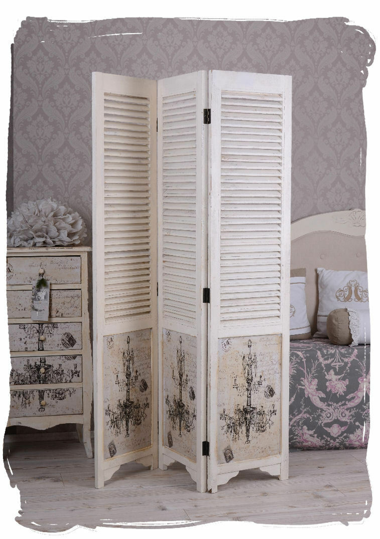 paravent shabby chic raumteiler weiss spanische wand vintage chf picclick ch. Black Bedroom Furniture Sets. Home Design Ideas