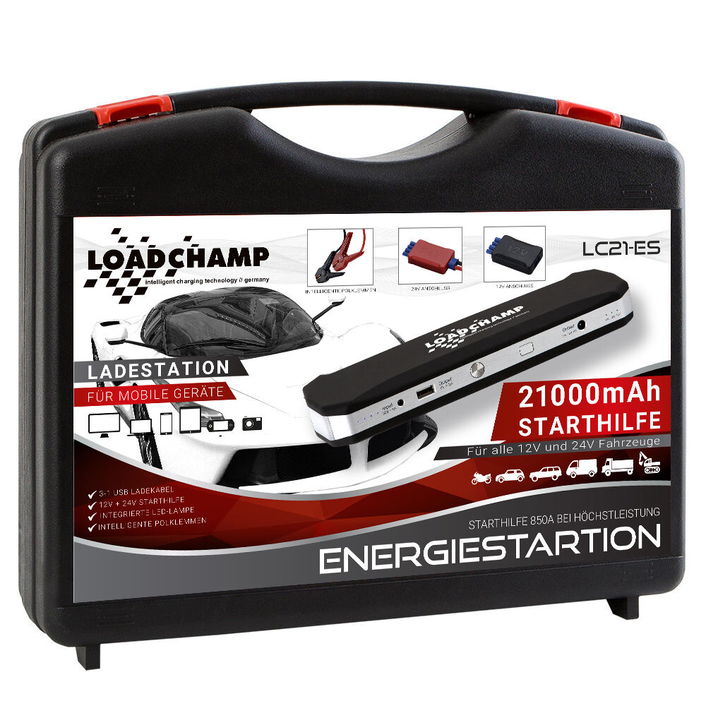 loadchamp 850a 21000mah energiestation mobile auto starthilfe powerbank ger t eur 178 50. Black Bedroom Furniture Sets. Home Design Ideas
