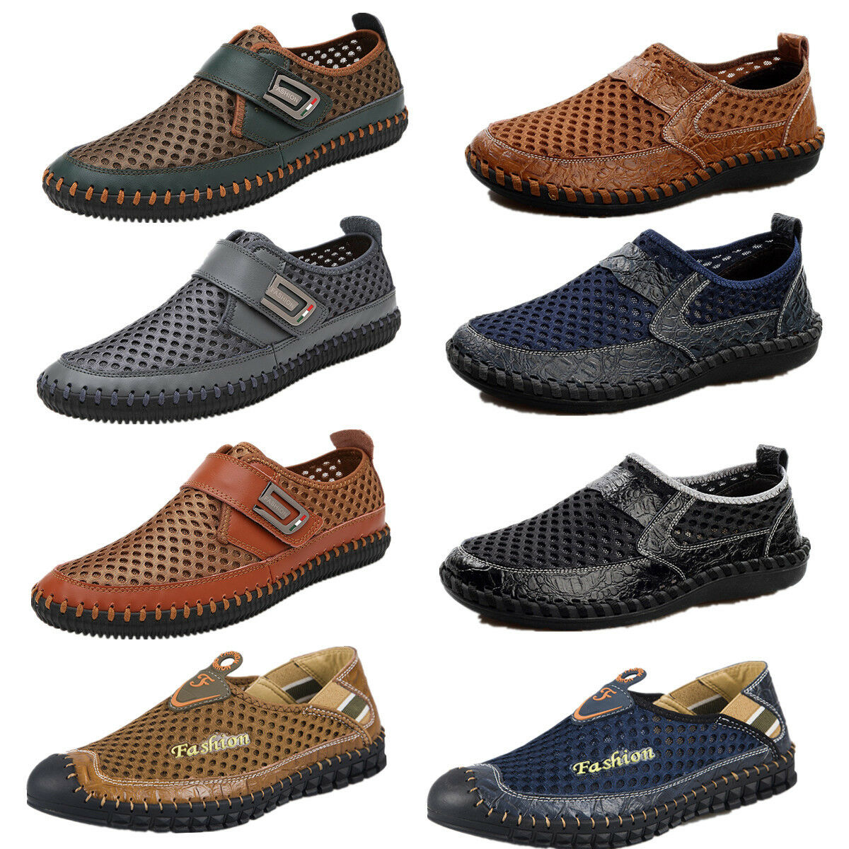 mens summer casual shoes driving slip on mesh outdoor