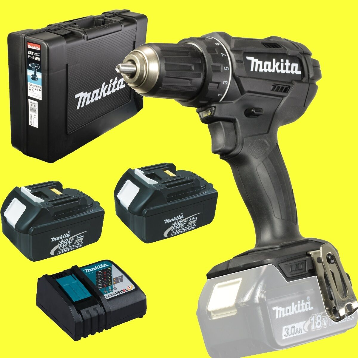 makita akkuschrauber ddf482rfeb 2 x 3 0 ah akku 18 volt. Black Bedroom Furniture Sets. Home Design Ideas