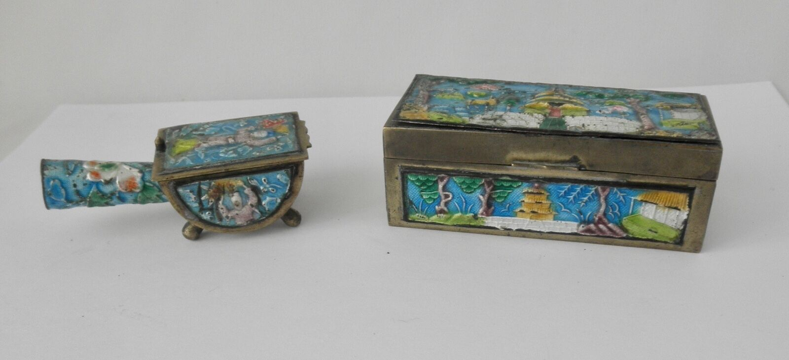 Two Antique Desk Set Items From China Enamel Over Brass 1 Of 4only Available