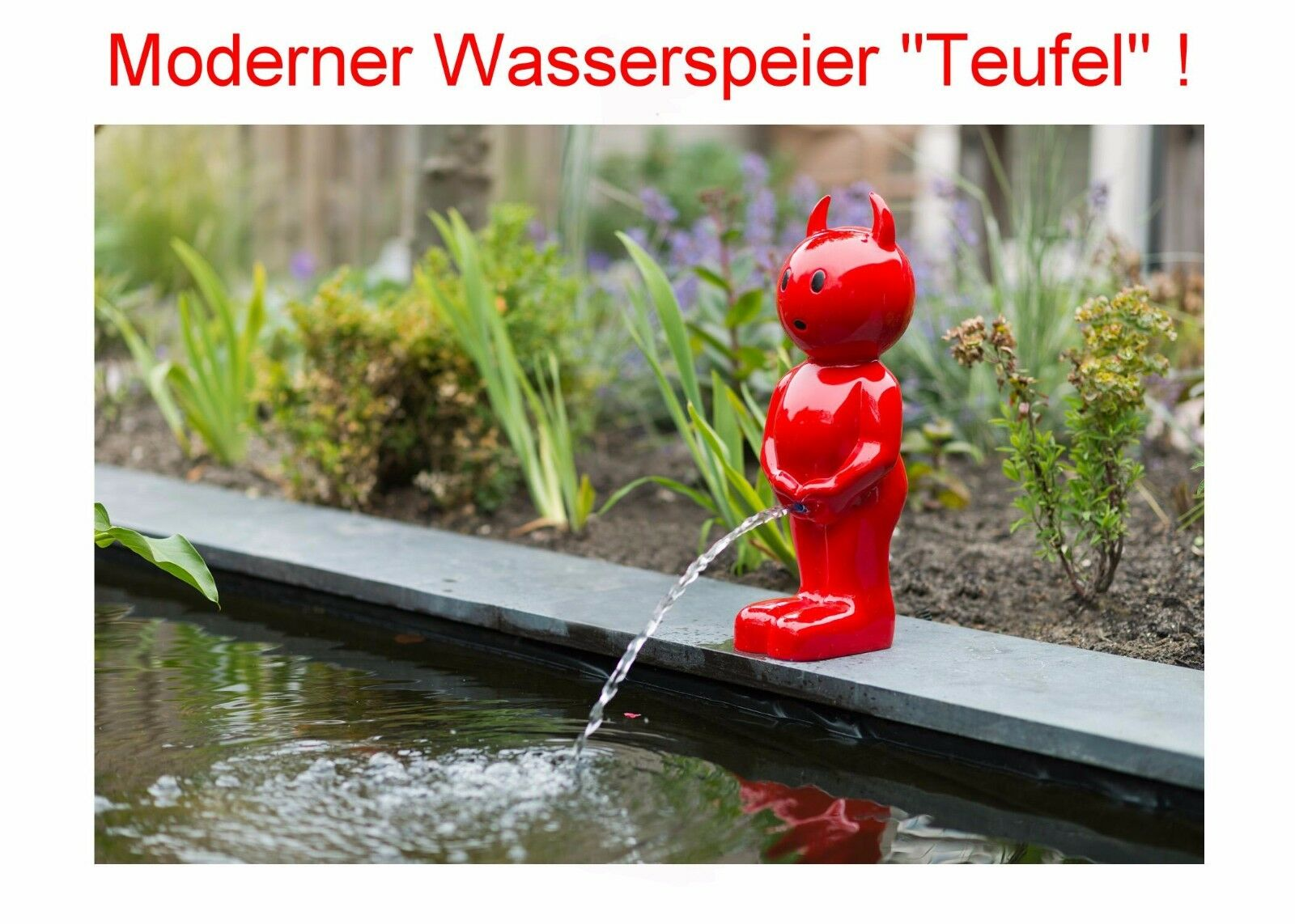 wasserspeier f r teich solar pumpe garten springbrunnen figur roter teufel deko eur 81 95. Black Bedroom Furniture Sets. Home Design Ideas