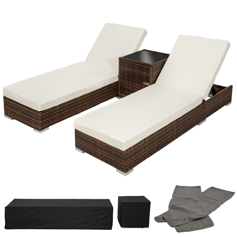 2x alu polyrattan sonnenliege tisch gartenliege rattan liege gartenm bel braun eur 269 99. Black Bedroom Furniture Sets. Home Design Ideas