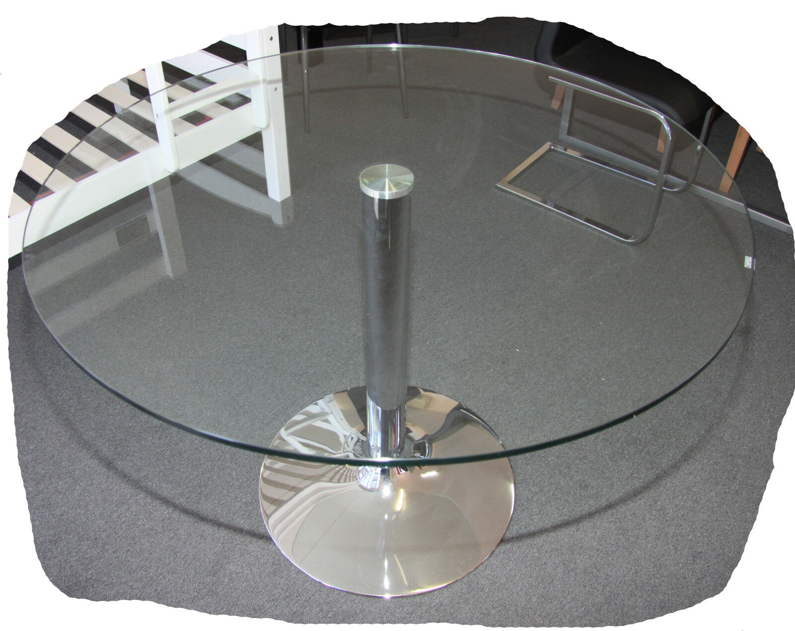 Tori chrome round 1050mm clear glass top dining table for Best dining table brands