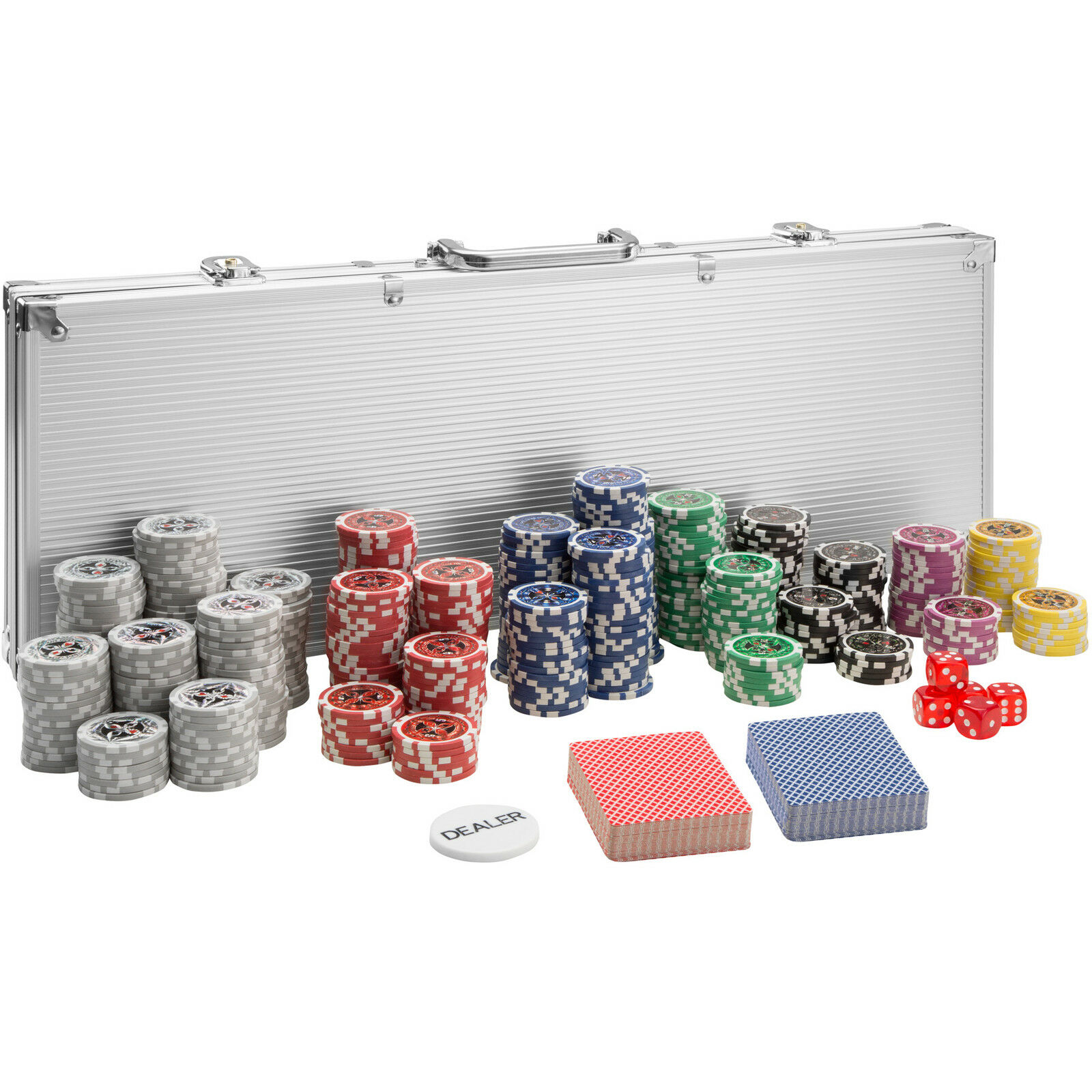 pokerkoffer pokerset 500 chips laser pokerchips poker set jetons alu koffer silb eur 33 49. Black Bedroom Furniture Sets. Home Design Ideas