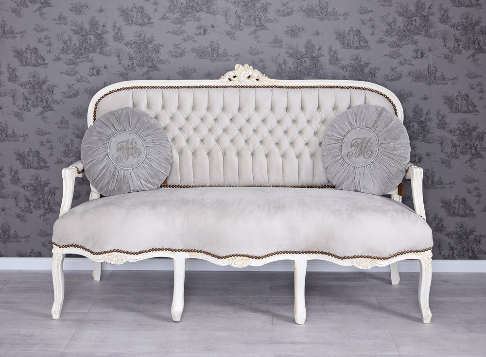 salonsofa barock sofa vintage sitzbank couch shabby chic polstersofa samt eur 399 99 picclick de. Black Bedroom Furniture Sets. Home Design Ideas