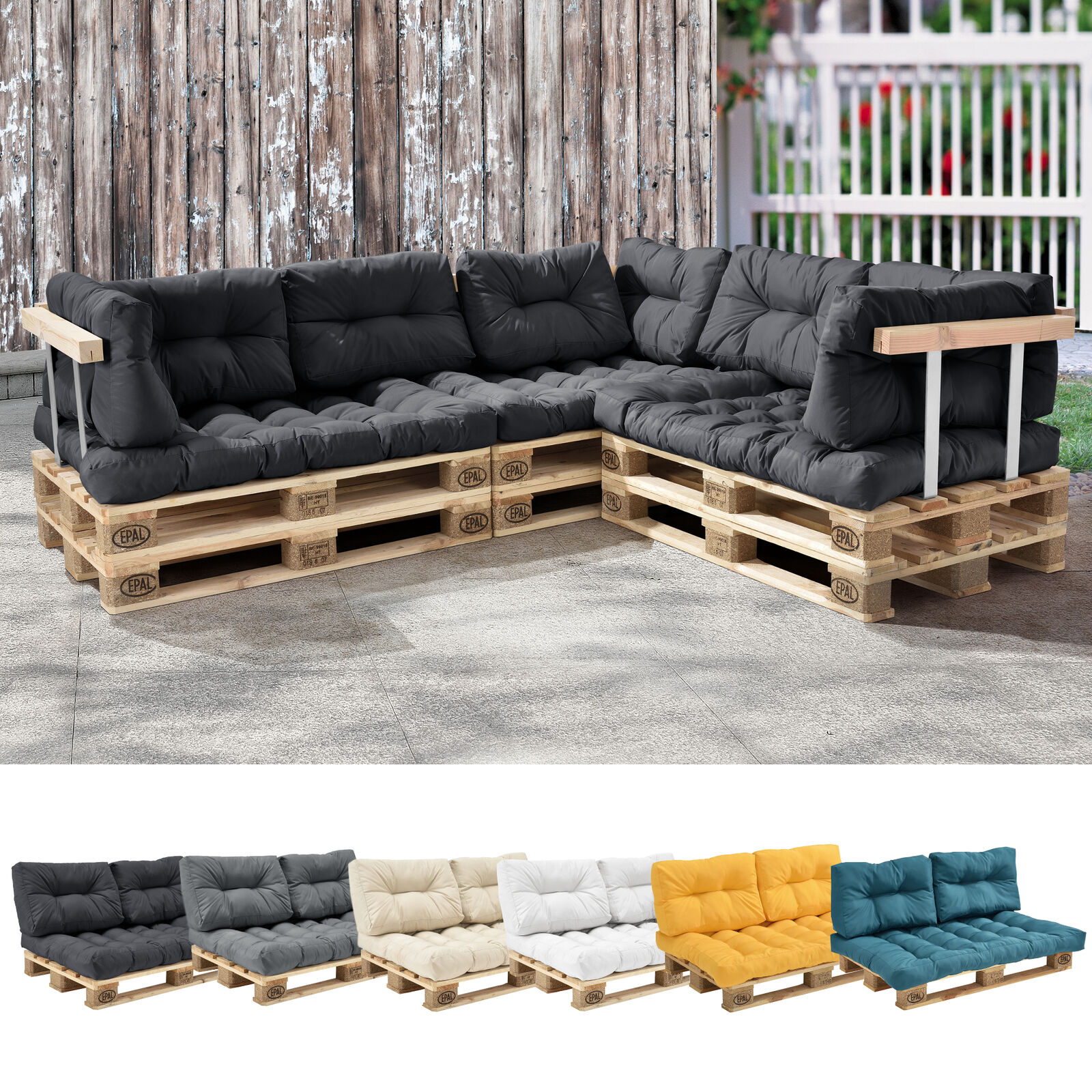 en casa palettenkissen in outdoor paletten kissen sofa polster sitzauflage eur 34 19. Black Bedroom Furniture Sets. Home Design Ideas