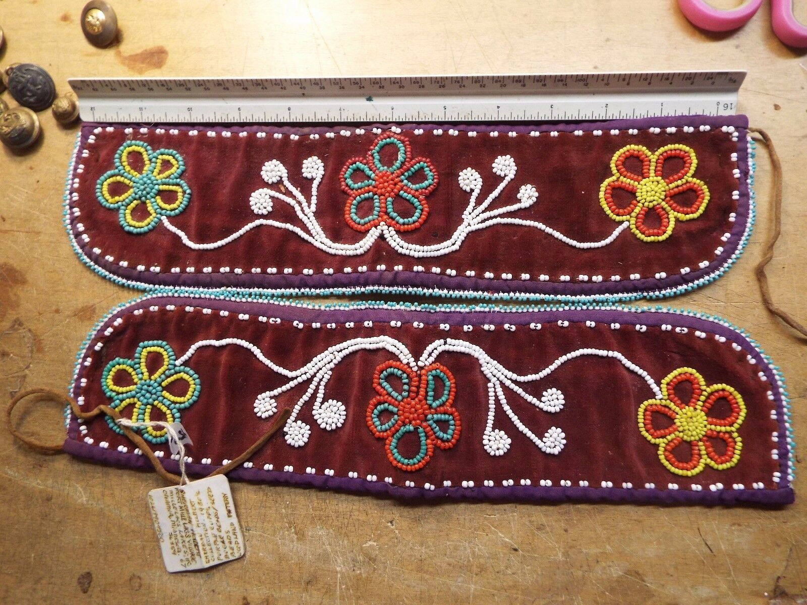 RARE NATIVE AMERICAN INDIAN BEADED CUFFS 1930s